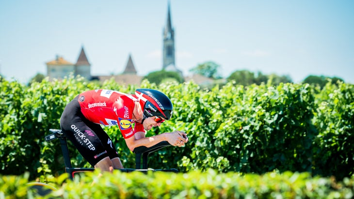 Kasper Asgreen during the time trial of stage 20 of the Tour de France 2021.