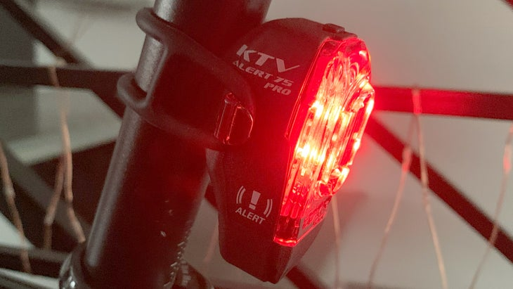 The Lezyne KTV Alert Pro Drive taillight automatically changes illumination pattern while you're riding.