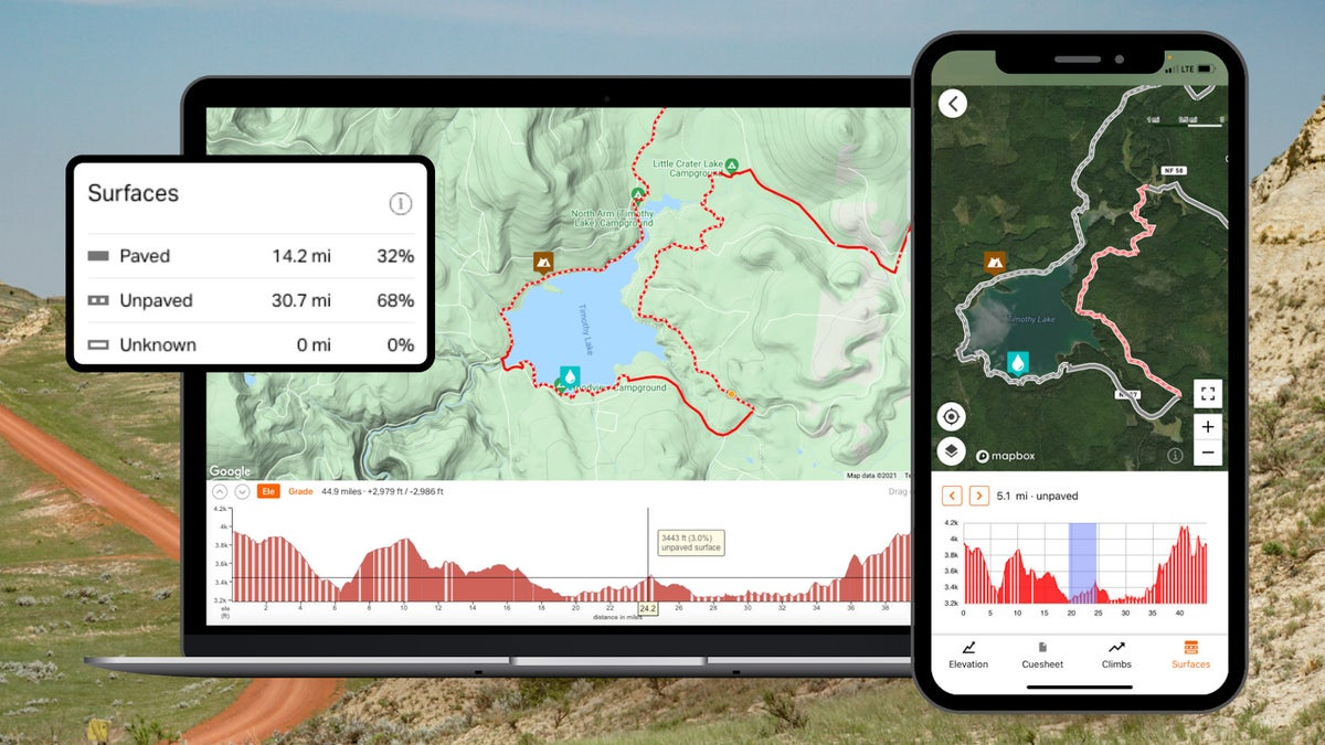 Ride With GPS adds Surface Types to route planning tool
